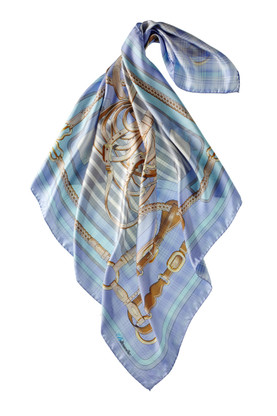 Turquoise Silk Equestrian Scarf