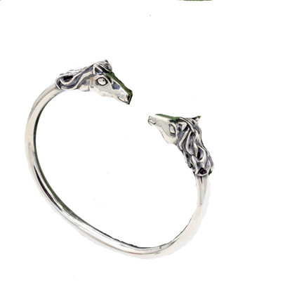 Sterling Silver Cuff with Horse Heads
