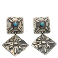 Turquoise Concho Earrings Diamond Shape