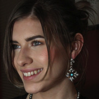 Fleur De Lis  Turquoise American Indian Handmade Earrings