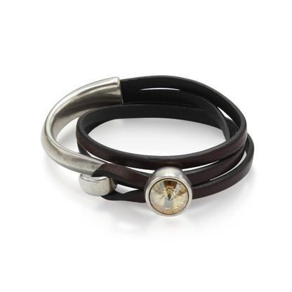 Wrap Bracelet with Swarovski Crystal   Half Silver   Golden Shadow Swarovski Crystal on Dark Brown Leather