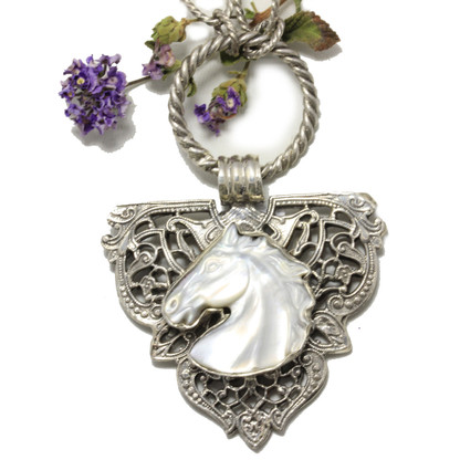 White Horse Pendant on Necklace | Echo of the Dreamer