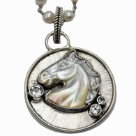 Grey Horse Necklace on Pearls