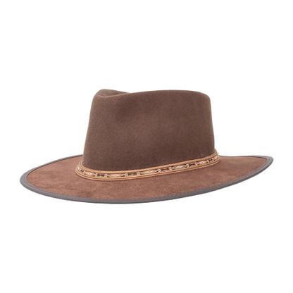 Brown Bushwick Felt   Leather Hat   Aside View