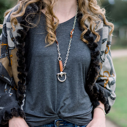 El Caballito Equestrian Bit Necklace | Leather | CXC Jewelry