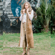 Long Sheepskin Vest with Coyote Collar