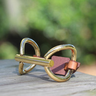 O Ring Snaffle Bit | Leather  Bracelet  | Gold | CXC Jewelry