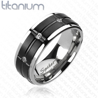 Solid Titanium Black IP Grooved Center Multi-CZs Ring   4367