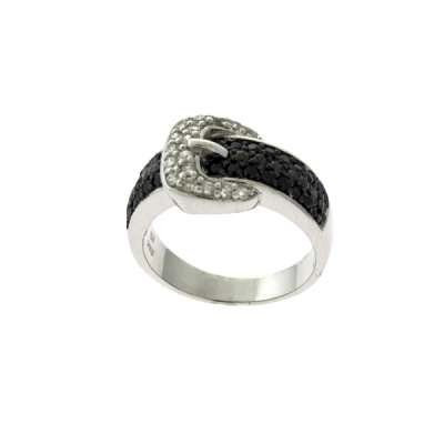 8775 1 Black and Clear CZ Sterling Silver Ring