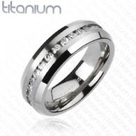 Titanium Ring   Center Cubic Zirconias   Caracol Inspired Jewelry