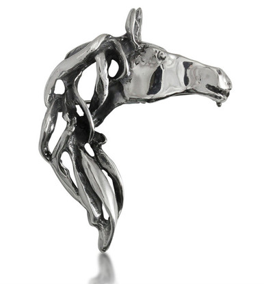 Horse Head and Mane Pin | Pendant | Oxidized Sterling Silver | Caracol Jewelry
