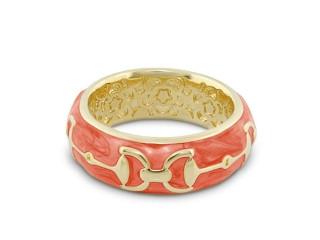 Thin Enamel Bit Ring Gold Tone