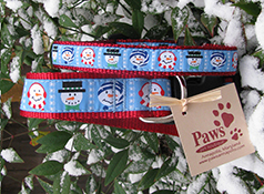 Winter Snowmen Dog Collars Made in USA