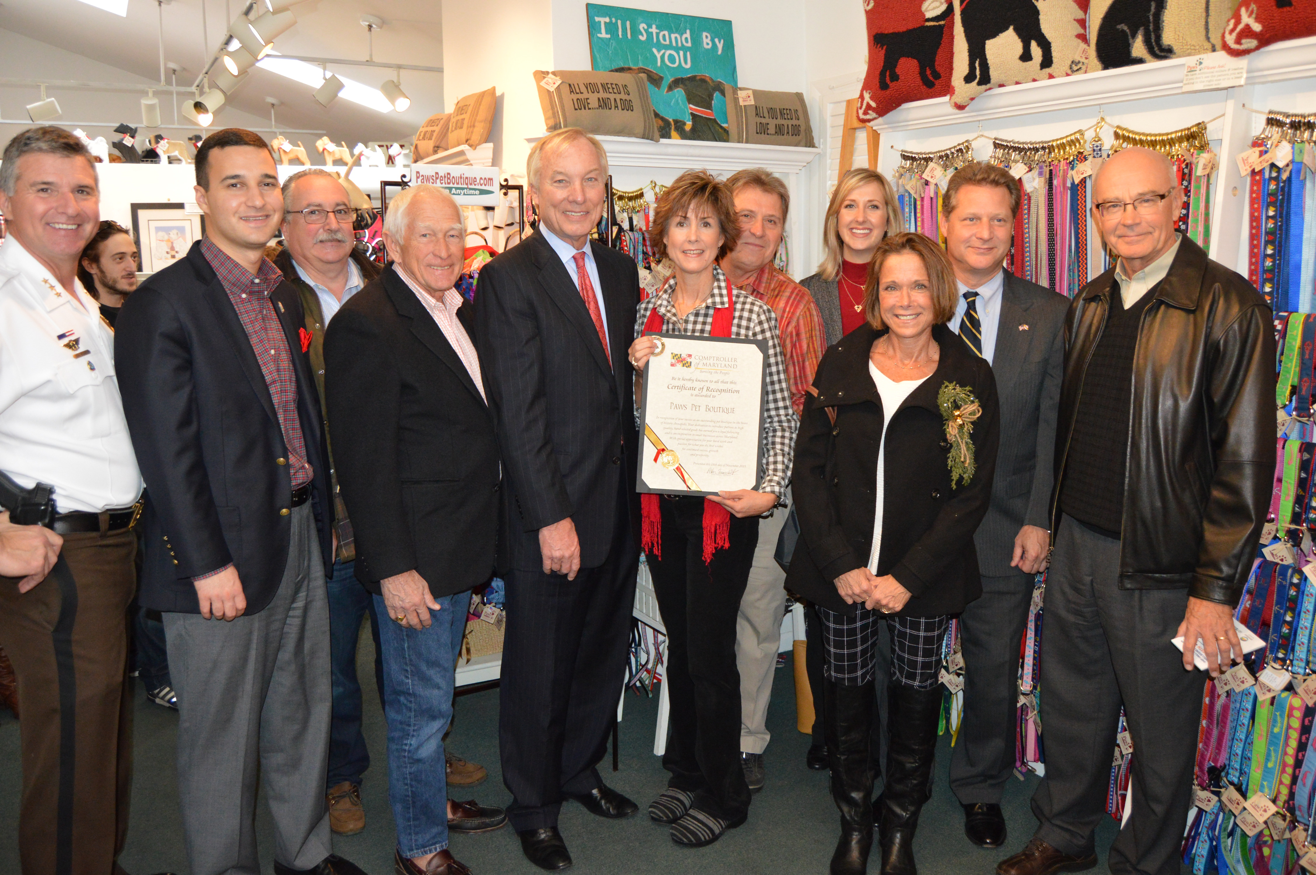 Maryland Comptroller Peter Franchot presents Paws with Proclamation.