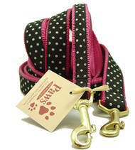 White Dots on Black Pink Dog Leashes