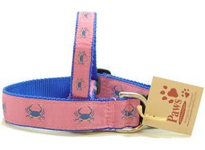 Blue Crabs on Pink Ribbon Dog Collars