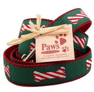 Candy Cane Bone Holiday Dog Leash