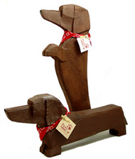 Carved Wood Red Dachshunds