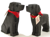 Carved Wooden Black Labs