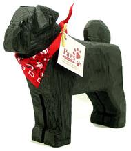 Carved Wood Black Pugs