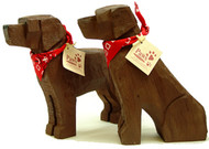Carved Wood Chocolate Labs
