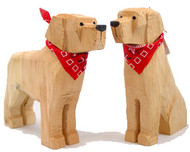 Carved Wood Yellow Labs