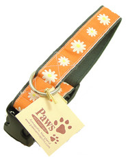 Designer Daisy Dog Collar Made with Soft Hemp Fabric