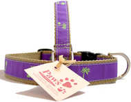 Green (on Purple) Palm Tree Dog Collars