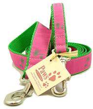 Green Palm Tree Dog Leashes (on pink)