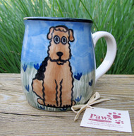 Hand-painted Airedale Mug made in USA.