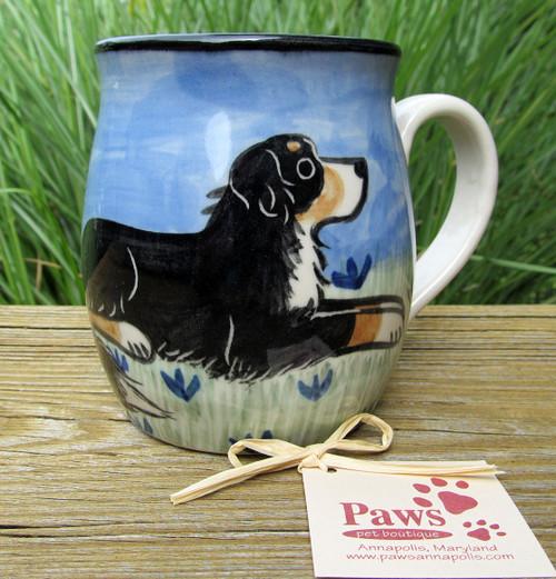 Whimsical Bernese Mountain Dog Mug Handmade in USA