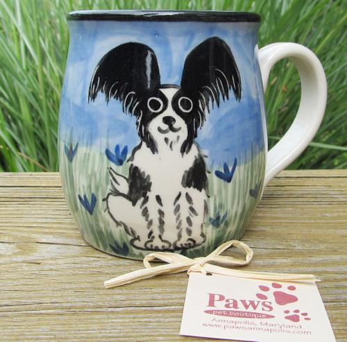 Hand-painted Papillon Mug made in USA