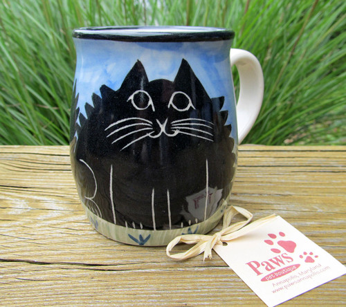 Fluffy Black Cat Mug made in USA
