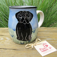 Black Pug Coffee Mug Hand-painted in USA