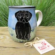 Black Pug Coffee Mug Hand-painted in USA