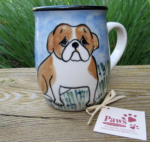 Hand-painted Bulldog Mugs made in USA.