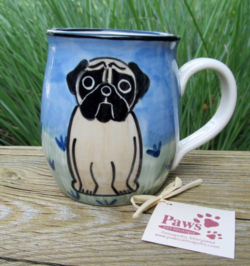 Hand-painted Fawn Pug Mug