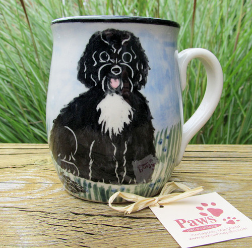 Hand-painted Portuguese Water Dog Mug
