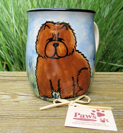 Hand-painted Red Chow Coffee Mugs