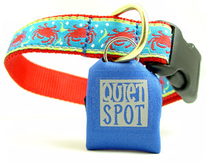 Neoprene pet tag silencers come in a variety of colors.