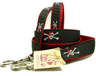 Red Bandana Skull and Cross Bones Dog Leashes