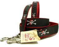 Red Bandana Skull and Cross Bones Dog Leashes