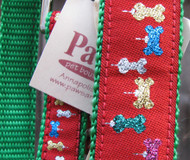 Bones with sparkle add some cheer to these U.S. made holiday leashes.