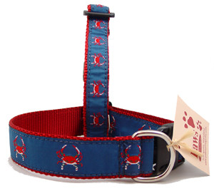 Red Crab Dog Collars on Red Webbing