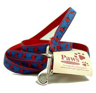 "Red Ladybug on Blue 1/2"" Toy Dog Leashes"