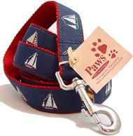 Red Webbed 4-Sailboat Dog Leashes