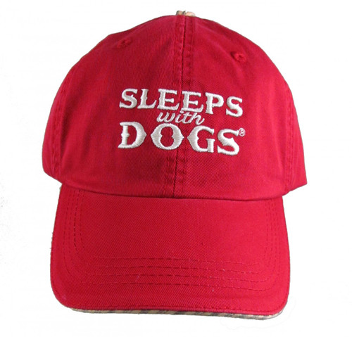 "Celebrate Your Love of Dogs with One of These Red ""Sleeps with Dogs"" Baseball Hats"