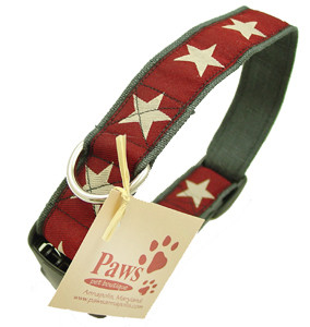 Cranberry Star Hemp Soft Dog Collar