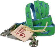 Blue Alligator on Green Dog Leashes