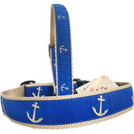 Gold Anchors on Blue Dog Collar Made in USA